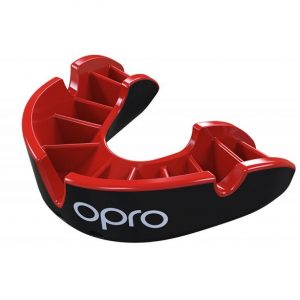 Silver Mouthguard Red Fins Black Shell