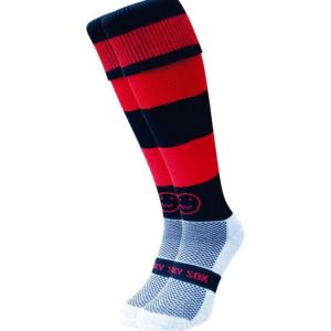 Red and Black Hoops hockey sock