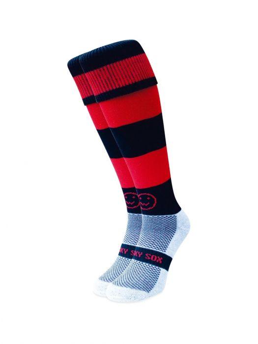 Red and Black Hoops hockey sock